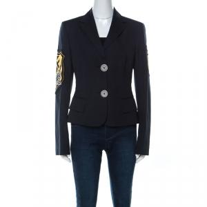 GF Ferre Vintage Navy Blue Cotton Military Patch Jacket M