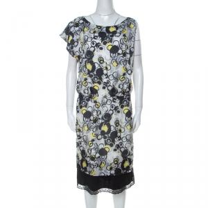 GF Ferre Multicolor circle Print Silk Lace Detail Asymmetric Shoulder Dress L - used