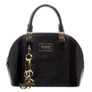 Gianfranco Ferre Black Patent Leather Dome Bag