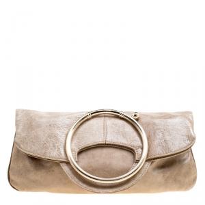 Gianfranco Ferre Beige Leather Foldover Clutch
