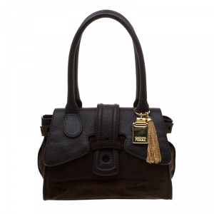Gianfranco Ferre Brown Suede and Leather Satchel