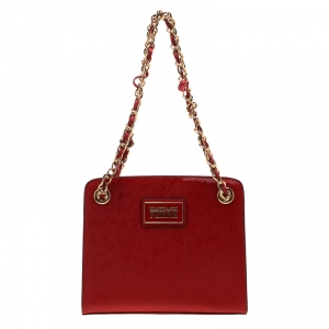 Gianfranco Ferre Red Patent Leather Chain Shoulder Bag