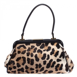 Gianfranco Ferre Brown/Beige Leopard Print Calfhair and Leather Frame Top Handle Bag