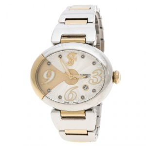 Gianfranco Ferre Silver White Stainless Steel Diamond Collection Oval Watch 44 mm