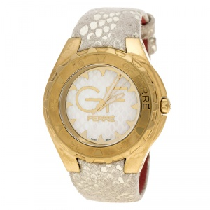 Gianfranco Ferre Mother of Pearl Gold-Plated Stainless Steel 9062J Women's Wristwatch 43 mm