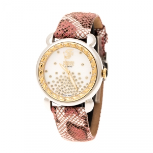 Gianfranco Ferre White Mother of Pearl Two Tone Stainless Steel Diamond Collection Women's Wristwatch 35 mm