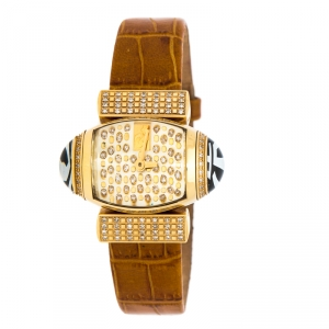 Gianfranco Ferre Gold Plated Diamonds Studded Oval GF 9009L Women's Wristwatch 35.50 mm