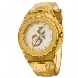GF Ferre Yellow Gold Plated Stainless Steel Rubber GF9024J Women's Wristwatch 43 mm