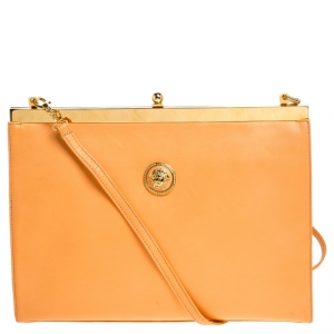 Gianni Versace Light Orange Leather Frame Shoulder Bag