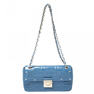 Versace Blue Patent Leather Flap Shoulder Bag