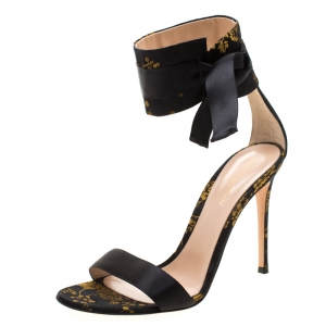 Gianvito Rossi Black/Yellow Jacquard Fabric Ankle Strap Open Toe Sandals Size 41