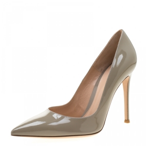 Gianvito Rossi Grey Patent Leather Pointed Toe Pumps Size 39.5
