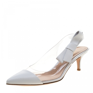 Gianvito Rossi White Leather And PVC Pointed Toe Slingback Sandals Size 39