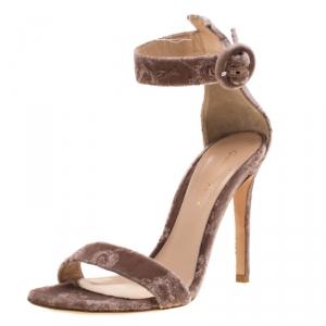 Gianvito Rossi Pale Pink Floral Embroidered Velvet Portofino Ankle Strap Sandals Size 36.5