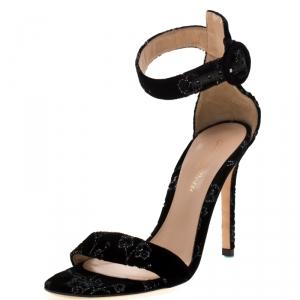 Gianvito Rossi Black Floral Embroidered Velvet Portofino Ankle Strap Sandals Size 36