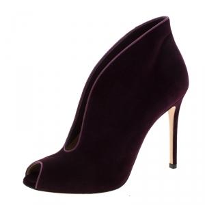 Gianvito Rossi Prune Purple Velvet Peep Toe Booties Size 40.5