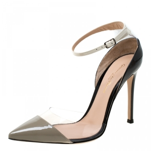Gianvito Rossi Multicolor Patent Leather and Plexi Ankle Strap Pointed Toe Pumps Size 36.5