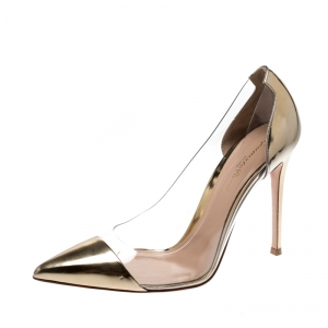 Gianvito Rossi Gold Patent Leather and PVC Plexi Pointed Toe Pumps Size 41