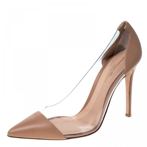 Gianvito Rossi Nude Beige Leather and  PVC Plexi Pointed Toe Pump Size 39