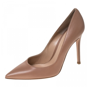 Gianvito Rossi Nude Beige Leather Continuity Pointed Toe Pumps Size 38.5