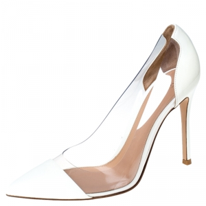 Gianvito Rossi White Patent Leather And PVC Plexi Cap Toe Pointed Toe Pumps Size 37.5