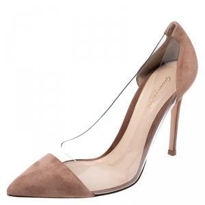 Gianvito Rossi Brown Suede And PVC Plexi Pointed Toe Pumps Size 38.5
