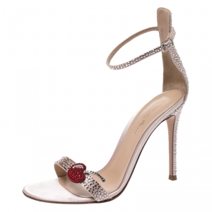 Gianvito Rossi Light Pink Crystal Embellished Satin Cherry Portofino Ankle Strap Open Toe Sandals Size 38