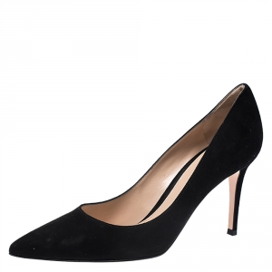 Gianvito Rossi Black Suede Pointed Toe Pumps Size 38