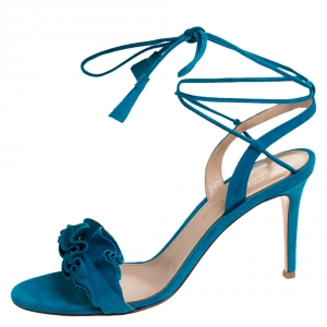 Gianvito Rossi Blue Suede Ruffled Ankle Wrap Sandals Sandals 38
