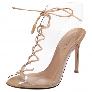 Gianvito Rossi Beige PVC And Leather Helmut Lace Up Boots Size 35.5 -