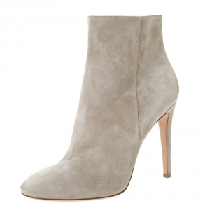 Gianvito Rossi Grey Suede Round Toe Ankle Boots Size 40.5 - used