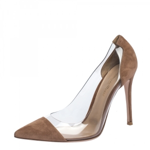 Gianvito Rossi Brown Suede and PVC Plexi Pointed Toe Pumps Size 39.5