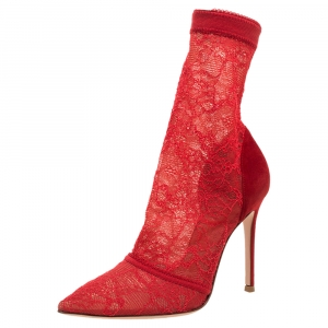 Gianvito Rossi Red Suede And Lace Pointed Toe Ankle Booties Size 38 - used