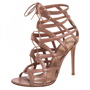 Gianvito Rossi Beige Leather Gladiator Lace Up Booties Size 41 -