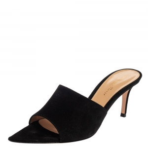 Gianvitto Rossi Black Suede Alise Mule Sandals Size 37 -