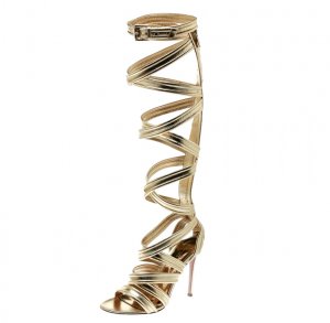 Gianvito Rossi Gold Leather Gladiator Knee High Sandals Size 38 - used