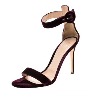 Gianvito Rossi Burgundy Velvet Portofino Ankle Strap Sandals Size 40