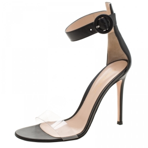 Gianvito Rossi Black Leather And PVC Stella Ankle Strap Open Toe Sandals Size 38