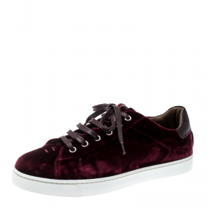 Gianvito Rossi Burgundy Velvet Loft Low Top Lace Up Sneakers Size 37.5