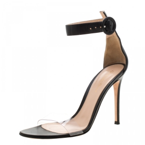 Gianvito Rossi Black Leather And PVC Ankle Strap Sandals 38.5