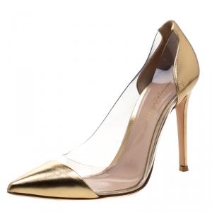 Gianvito Rossi Metallic Gold Leather And PVC Plexi Pumps Size 38