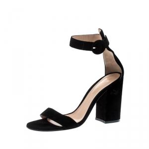 Gianvito Rossi Black Suede Versilia 60 Ankle Cuff Sandals Size 38