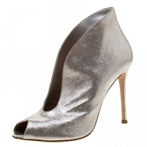 Gianvito Rossi Metallic Silver Suede Peep Toe Ankle Booties Size 39