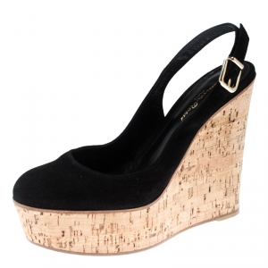 Gianvito Rossi Black Suede Cork Wedge Platform Sandals Size 39.5