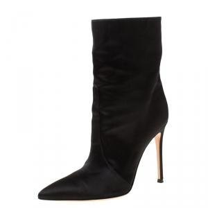 Gianvito Rossi Black Satin Pointed Toe Ankle Boots Size 39