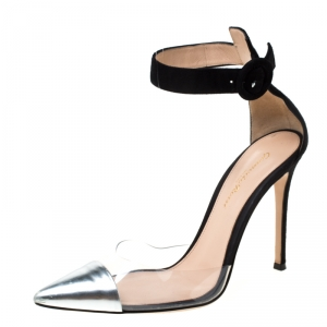 Gianvito Rossi Black/Silver Leather And PVC Ankle Strap Pointed Toe Sandals Size 37