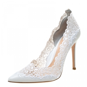 Gianvito Rossi White 105 Lace and Leather Pointed Toe Pumps Size 38