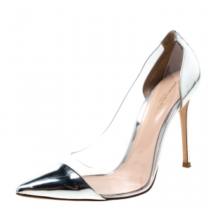 Gianvitto Rossi Silver Patent Leather and PVC Plexi Pointed Toe Pumps Size 39.5