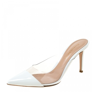 Gianvito Rossi White Leather and PVC Plexi Pointed Toe Mule Sandals Size 38
