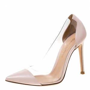Gianvito Rossi Beige Leather And PVC Plexi Pointed Toe Pumps Size 35